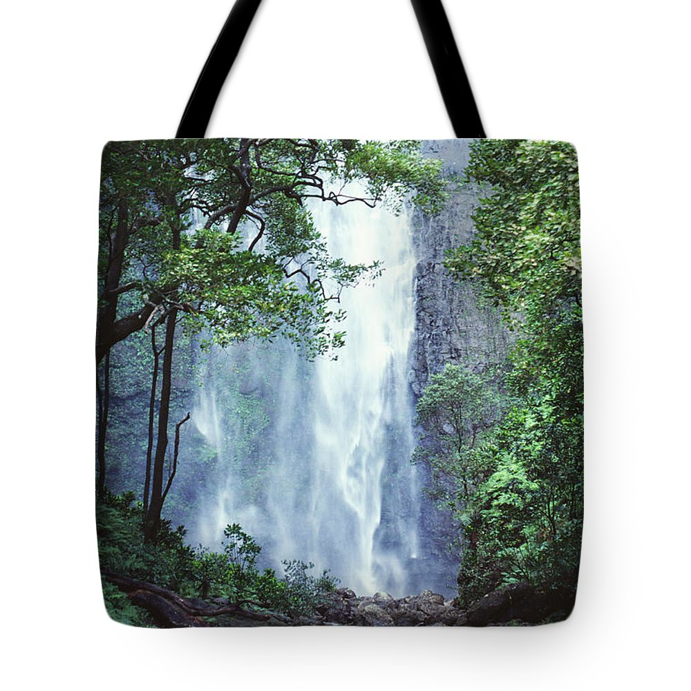 Ali O Neal Tote Bag featuring the photograph Cascading Waterfall by Ali ONeal - Printscapes