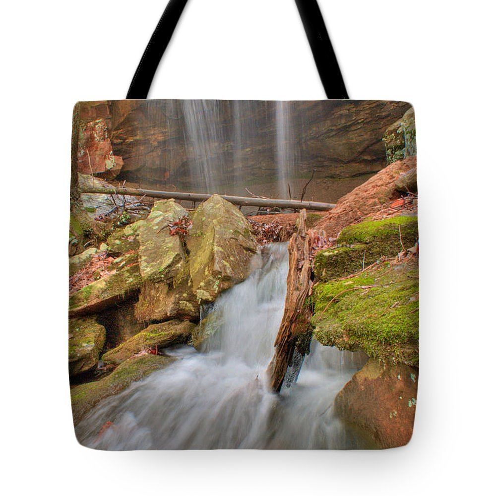 Water Tote Bag featuring the photograph Cascading Waterfall by Douglas Barnett