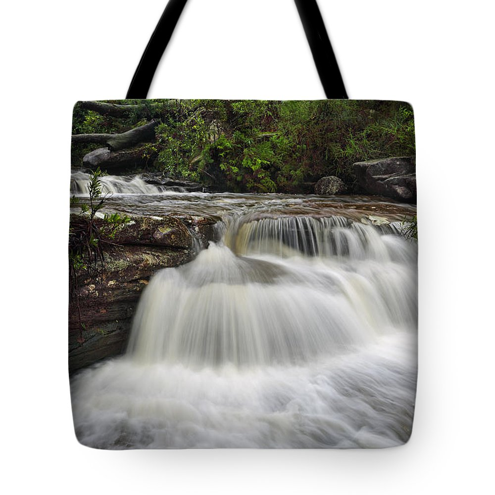 Waterfall Tote Bag featuring the photograph Cascading Waterfall by Leah-Anne Thompson