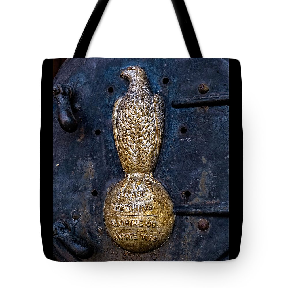 Farm Tote Bag featuring the photograph Case Threshing Machine Eagle Emblem by Theresa Peterson