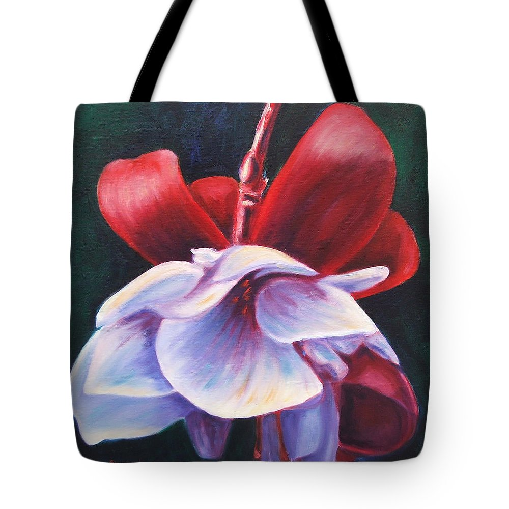 Fuchsia Tote Bag featuring the painting Casey's Way by Shannon Grissom