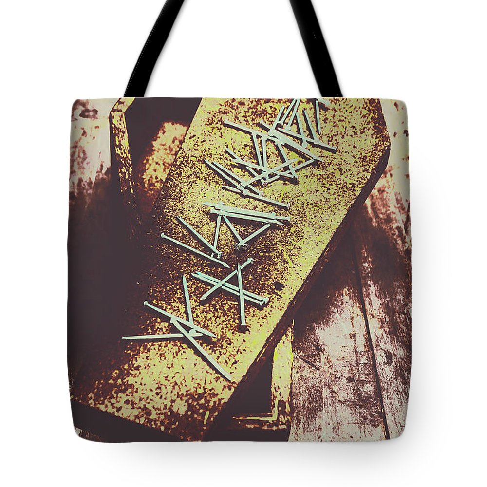 Horror Tote Bag featuring the photograph Casket Closing by Jorgo Photography - Wall Art Gallery