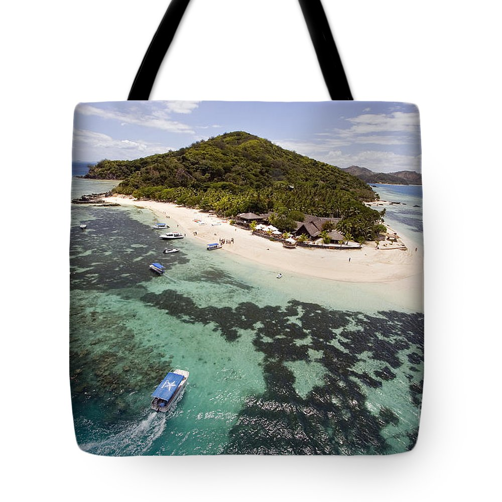 Aerial Tote Bag featuring the photograph Castaway Island Aerial by Dave Fleetham - Printscapes