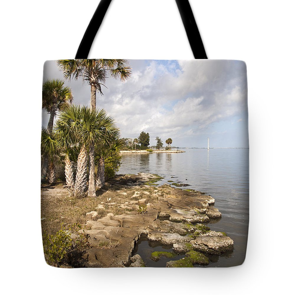 Castaway Tote Bag featuring the photograph Castaway Point On The Indian River Lagoon With Coquina Rock by Allan Hughes