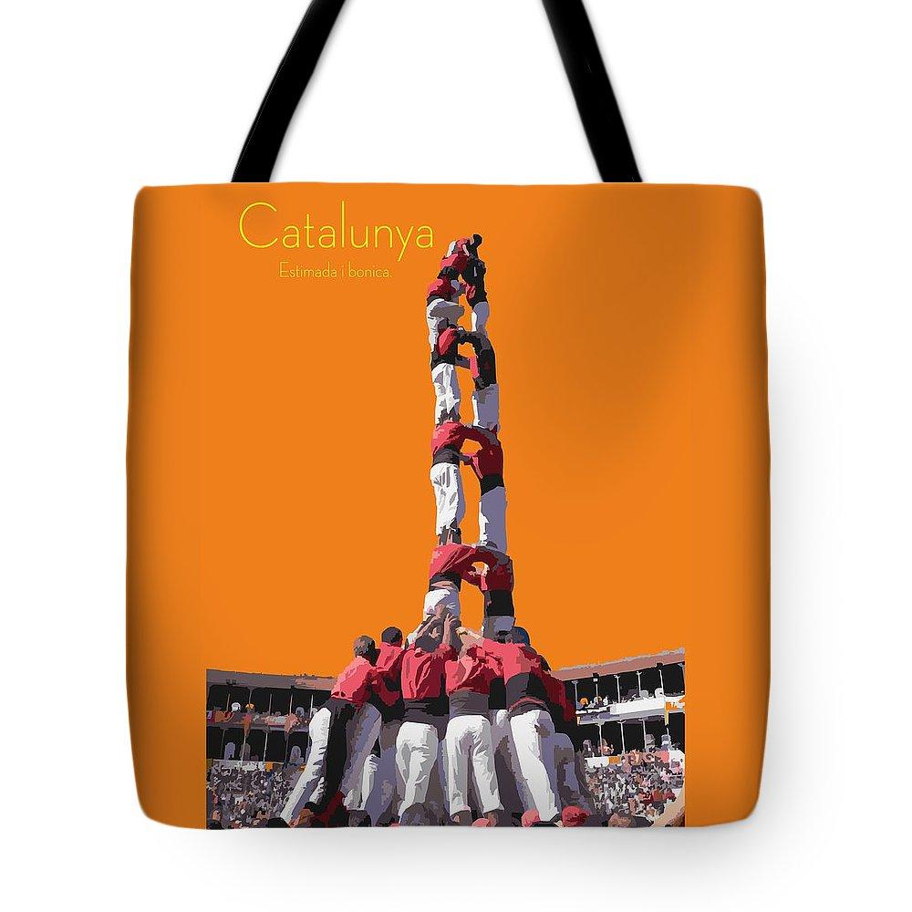 Catalunya Tote Bag featuring the digital art Castellers De Catalunya by Joaquin Abella