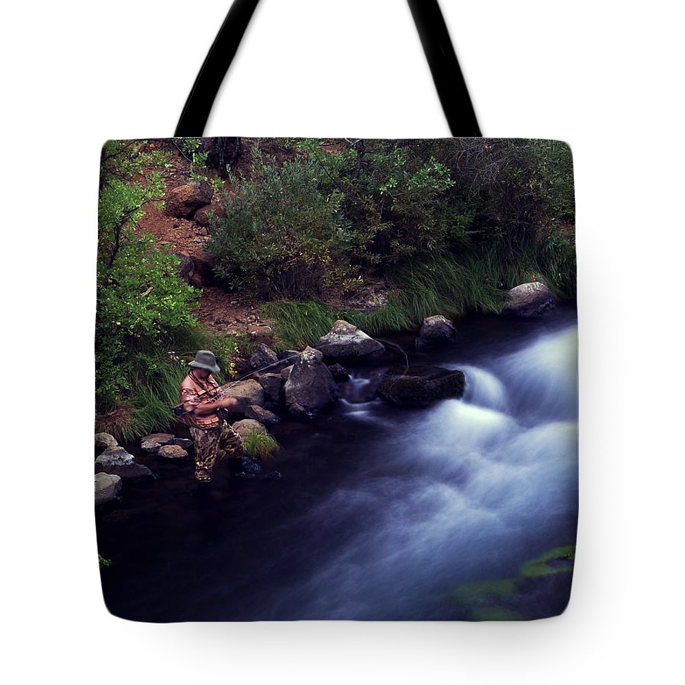 Fishing Tote Bag featuring the photograph Casting Softly by Peter Piatt