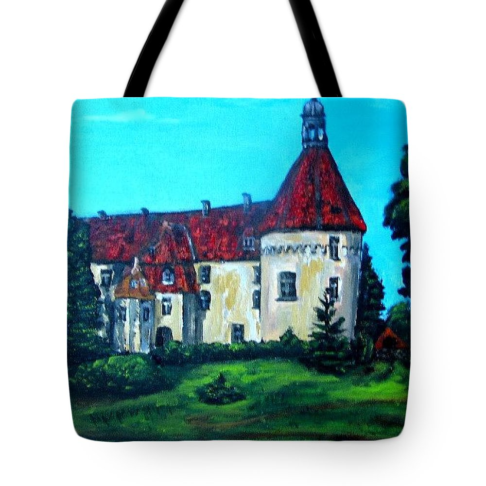 Old Town Tote Bag featuring the painting Castle Ciityscape Acrylic Painting by Natalja Picugina