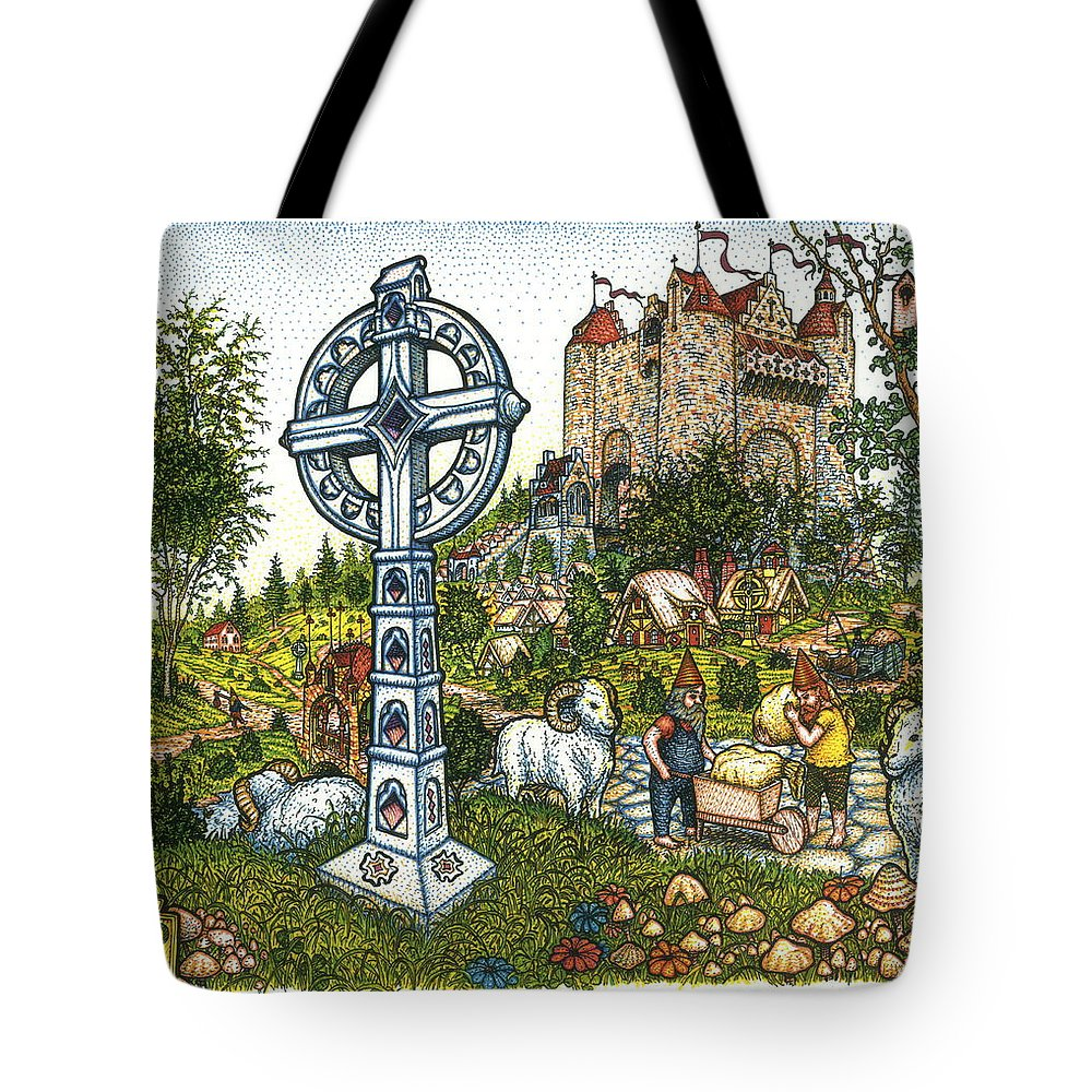 Castle Tote Bag featuring the drawing Castle Cross by Bill Perkins