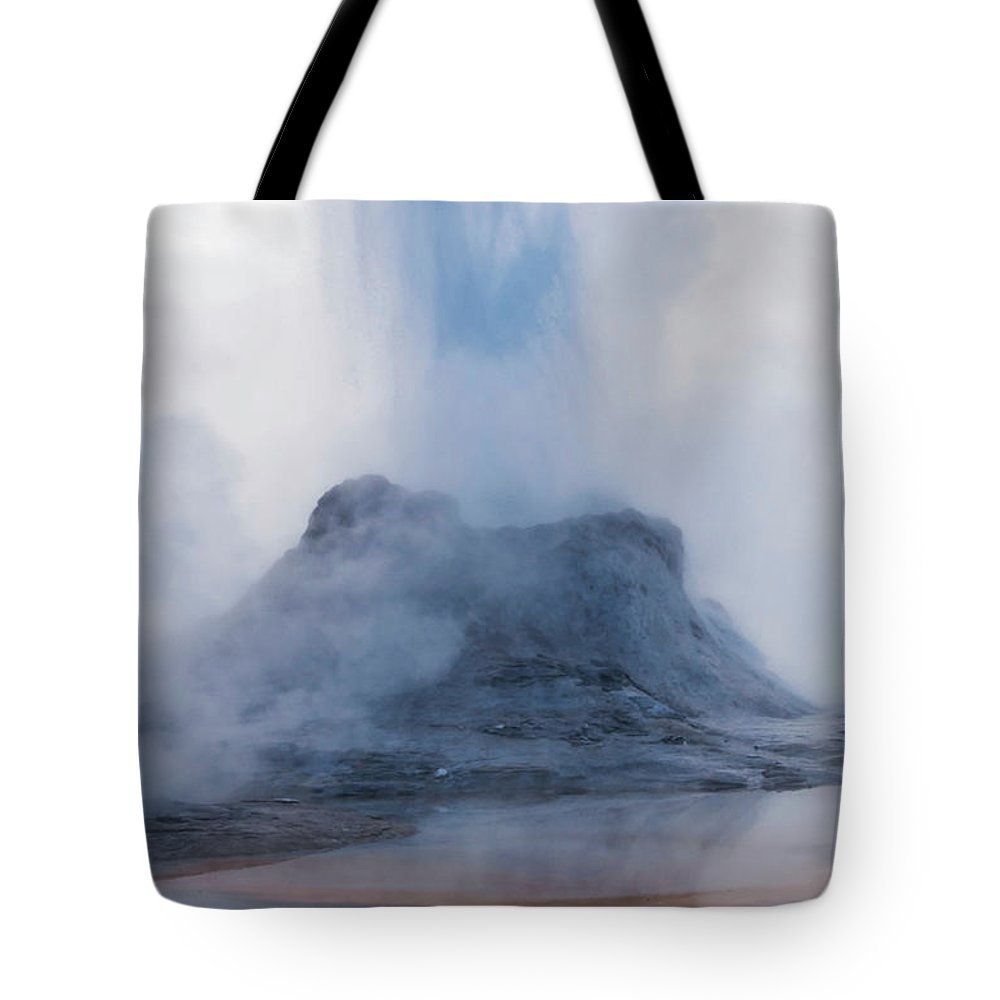 Yellowstone National Park Tote Bag featuring the photograph Castle Geyser Eruption by Bob Phillips