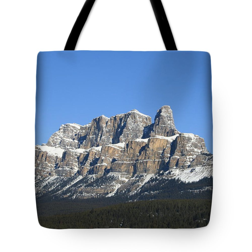 Cascade Mountain Tote Bag featuring the photograph Castle Mountain Winter by Tiffany Vest