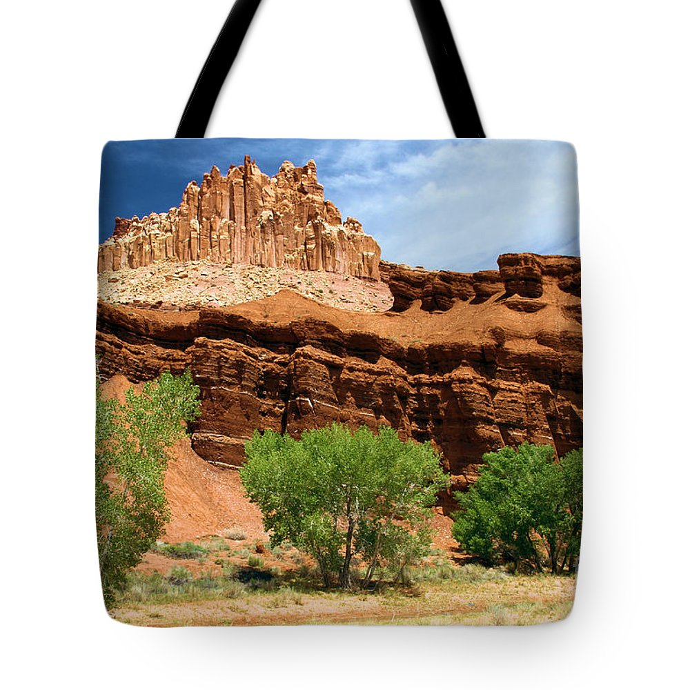 Capitol Reef National Park Tote Bag featuring the photograph Castle Over Cottonwoods by Adam Jewell