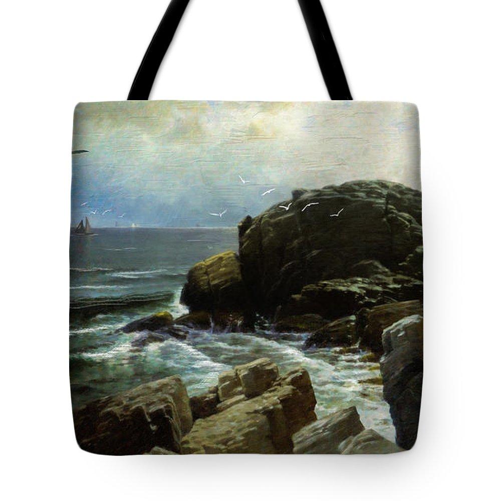 Castle Rock Tote Bag featuring the digital art Castle Rock - Marblehead by Lianne Schneider