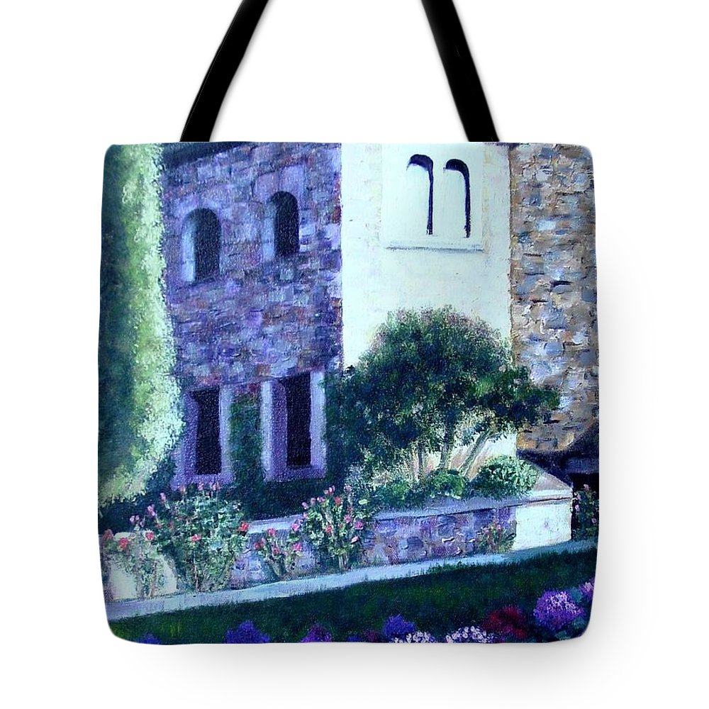 Italy Tote Bag featuring the painting Castle Sestri Levante by Laurie Morgan