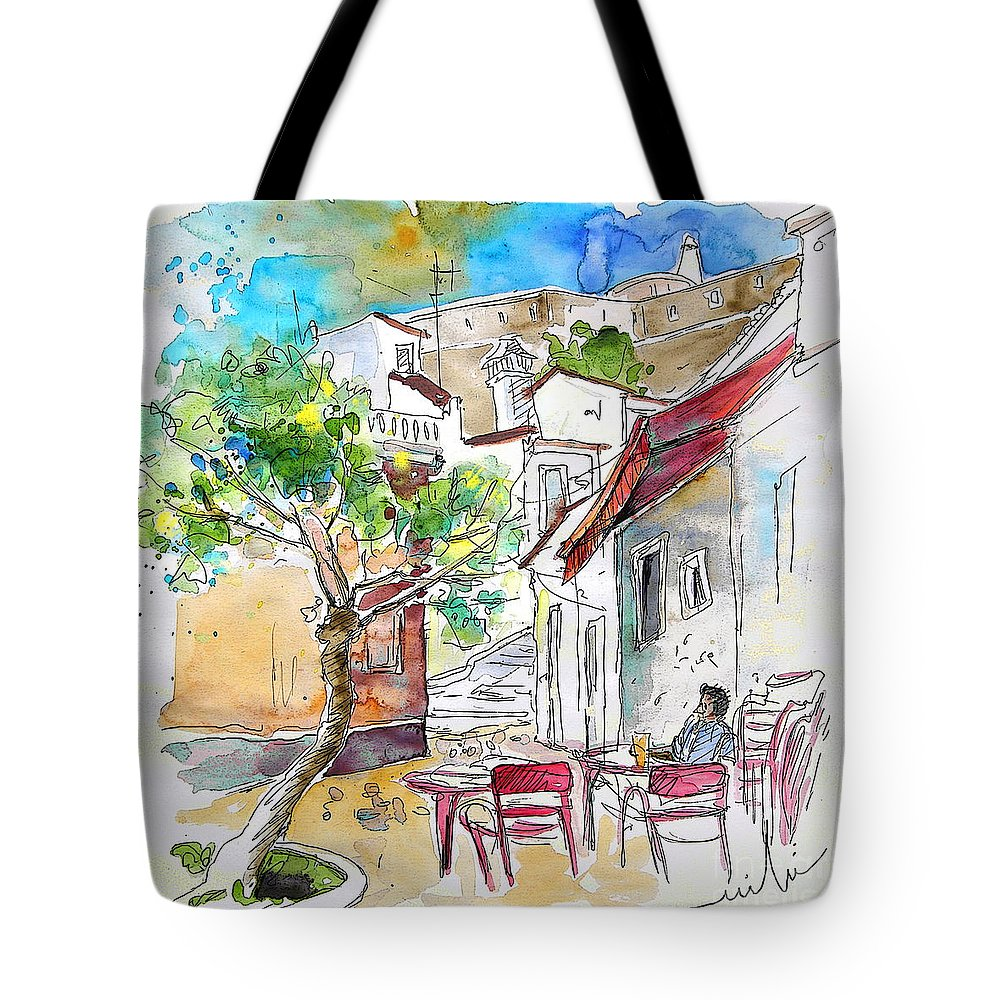 Water Colour Travel Sketch Castro Marim Portugal Algarve Miki Tote Bag featuring the painting Castro Marim Portugal 01 by Miki De Goodaboom