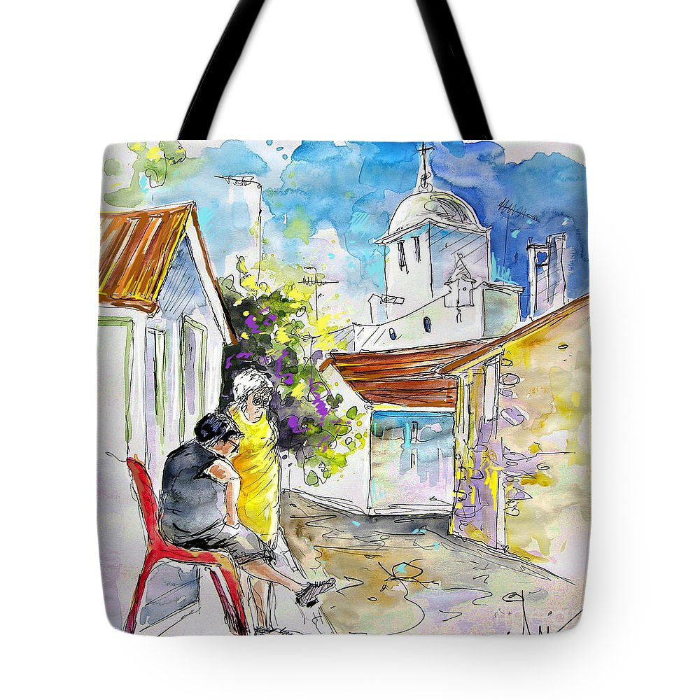 Water Colour Travel Sketch Castro Marim Portugal Algarve Miki Tote Bag featuring the painting Castro Marim Portugal 04 by Miki De Goodaboom