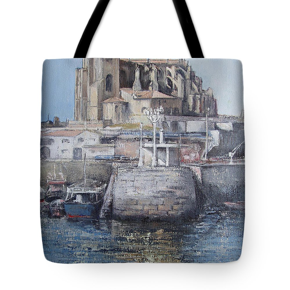 Castro Tote Bag featuring the painting Castro Urdiales by Tomas Castano