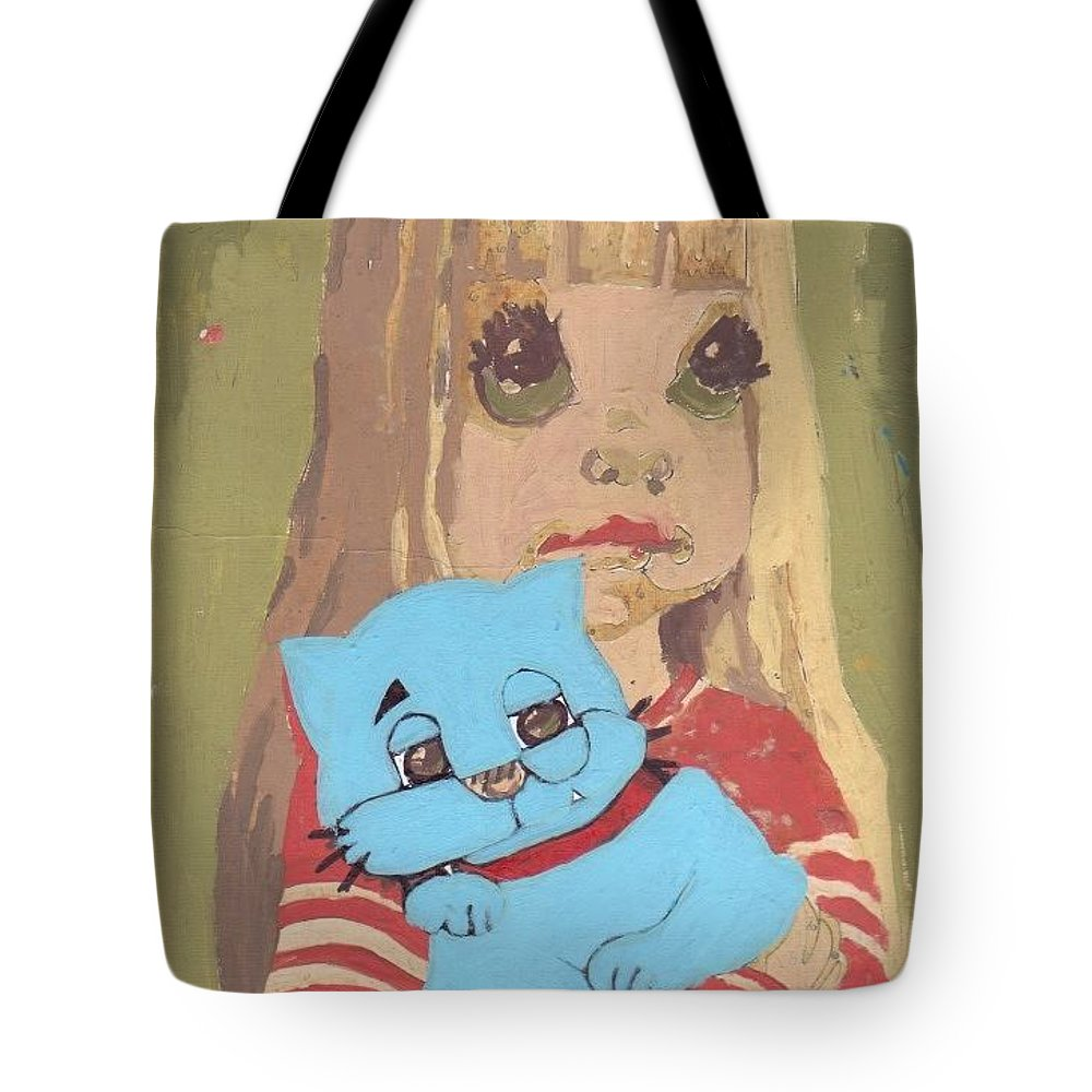 Billcat Animism Animals Tote Bag featuring the painting Cat 2 by William Douglas