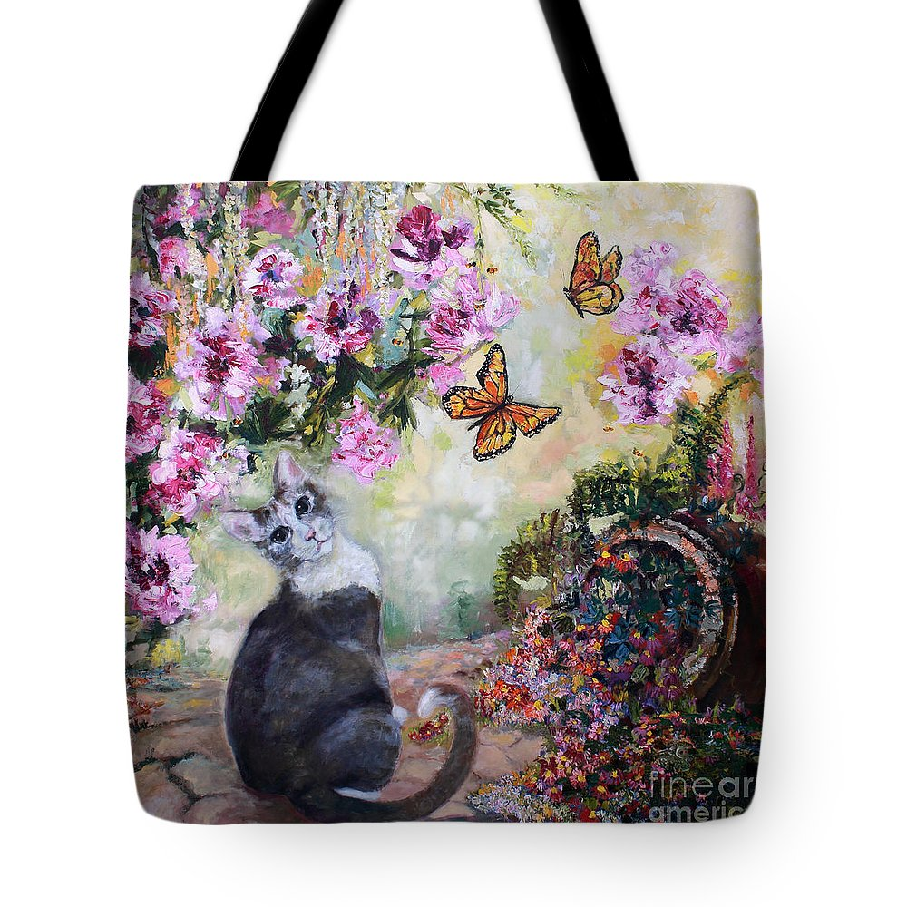 Cats Tote Bag featuring the painting Cat and Butterflies in Cottage Garden by Ginette Callaway