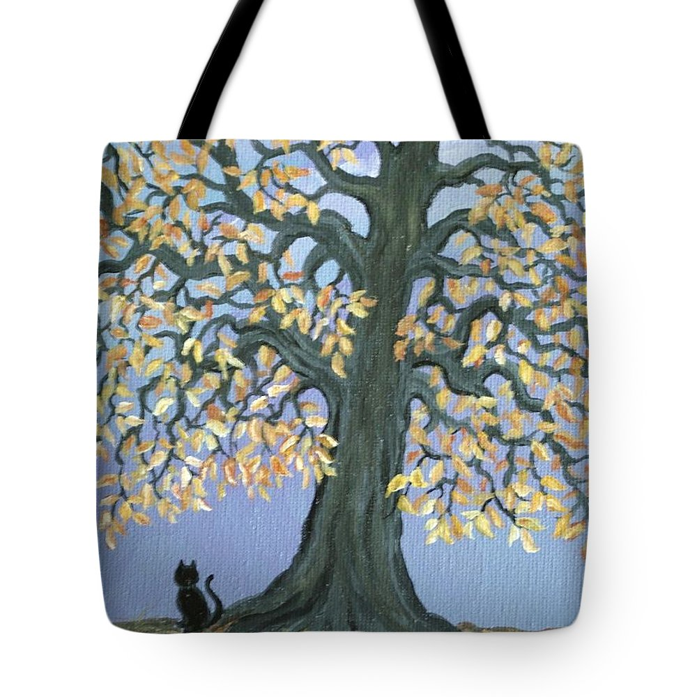 Cat Tote Bag featuring the painting Cat And Crow by Nick Gustafson