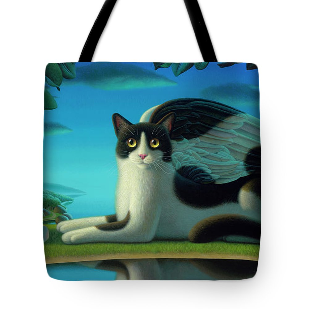 Cat Tote Bag featuring the painting Cat And Mouse 2 by Chris Miles