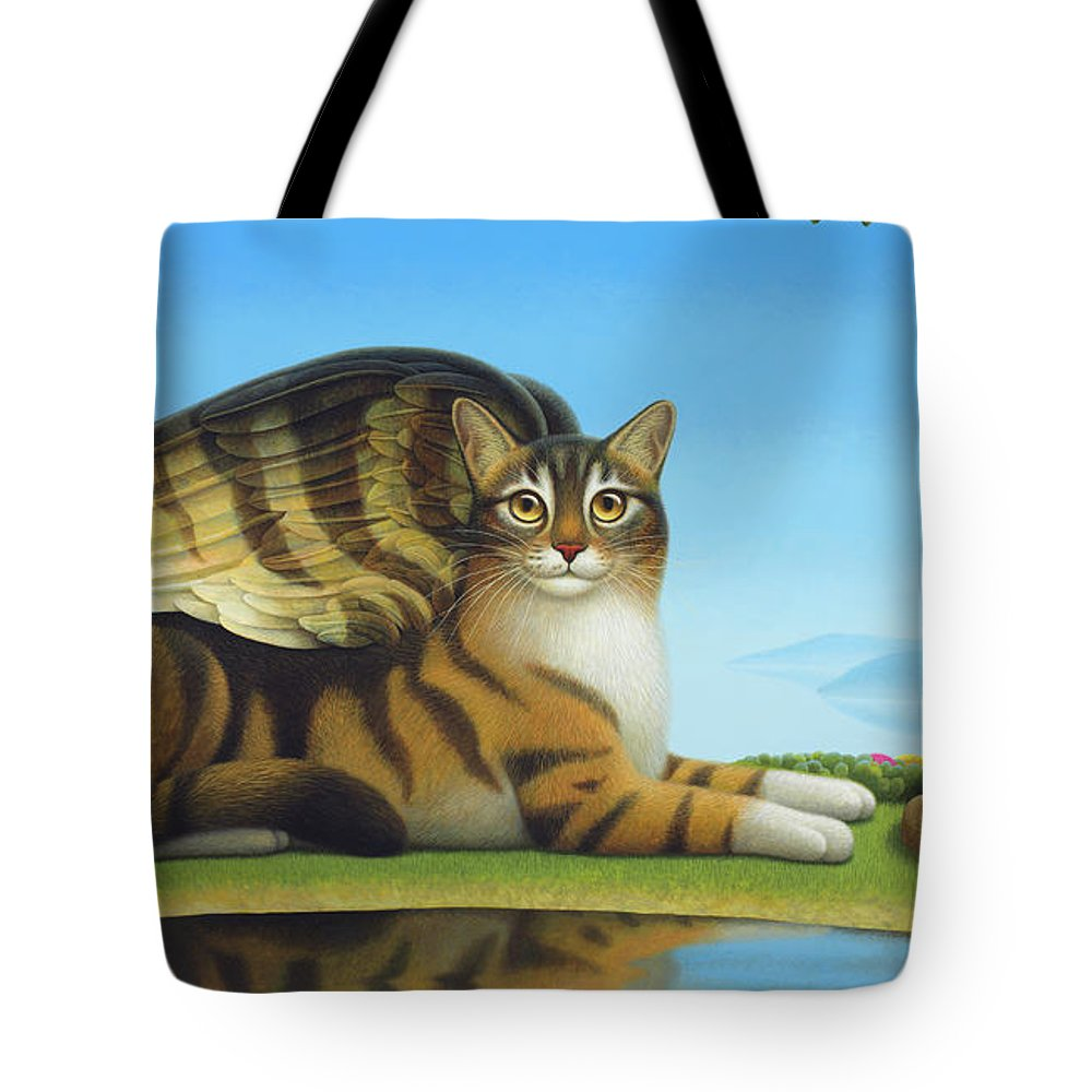 Cat Tote Bag featuring the painting Cat And Mouse by Chris Miles