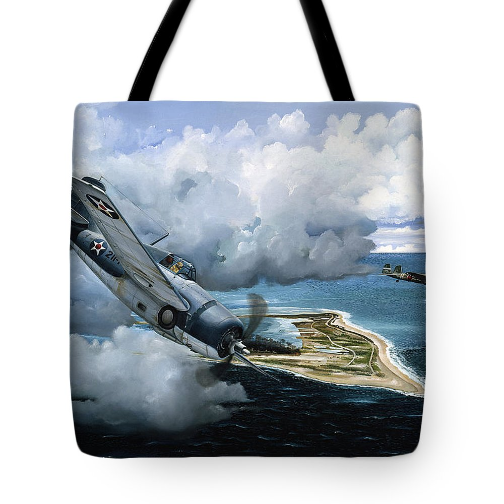 Military Tote Bag featuring the painting Cat And Mouse Over Wake by Marc Stewart
