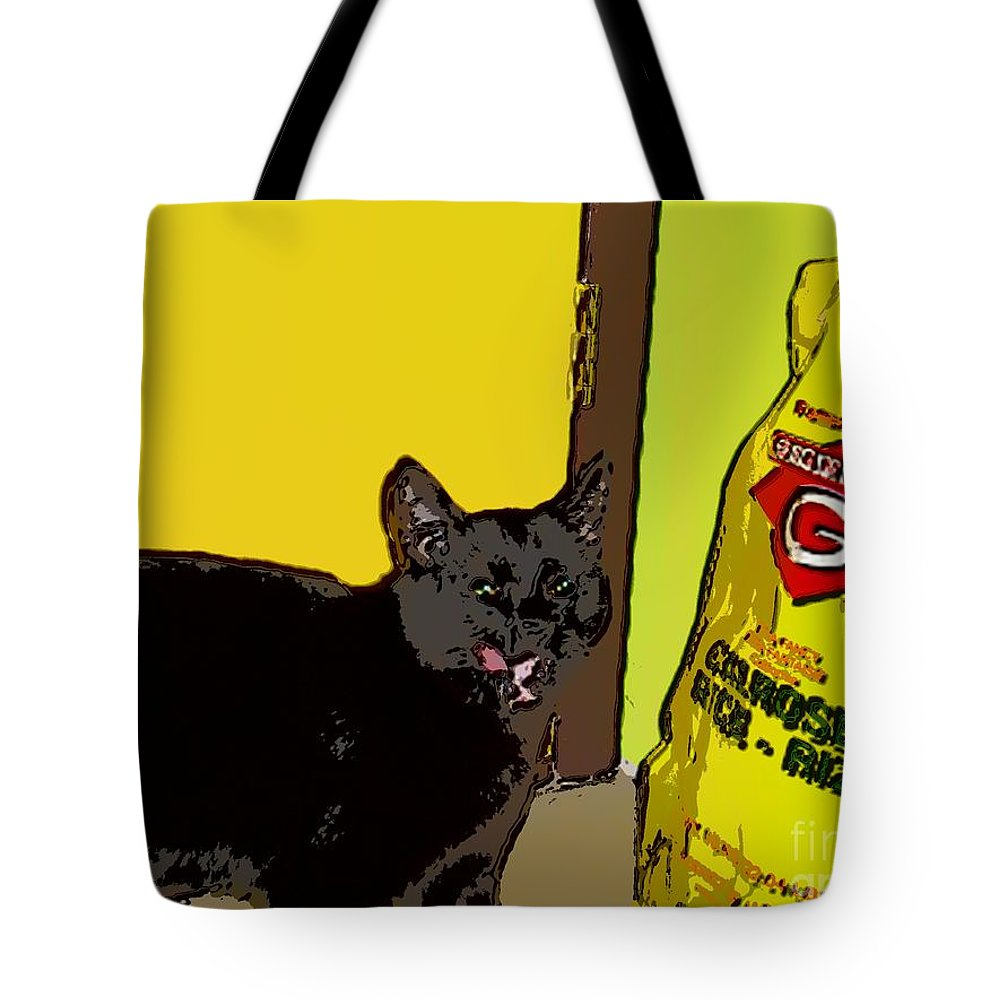 Photograph Cat Black Rice Yellow Critter Green Red Tote Bag featuring the photograph Cat And Rice by Seon-Jeong Kim