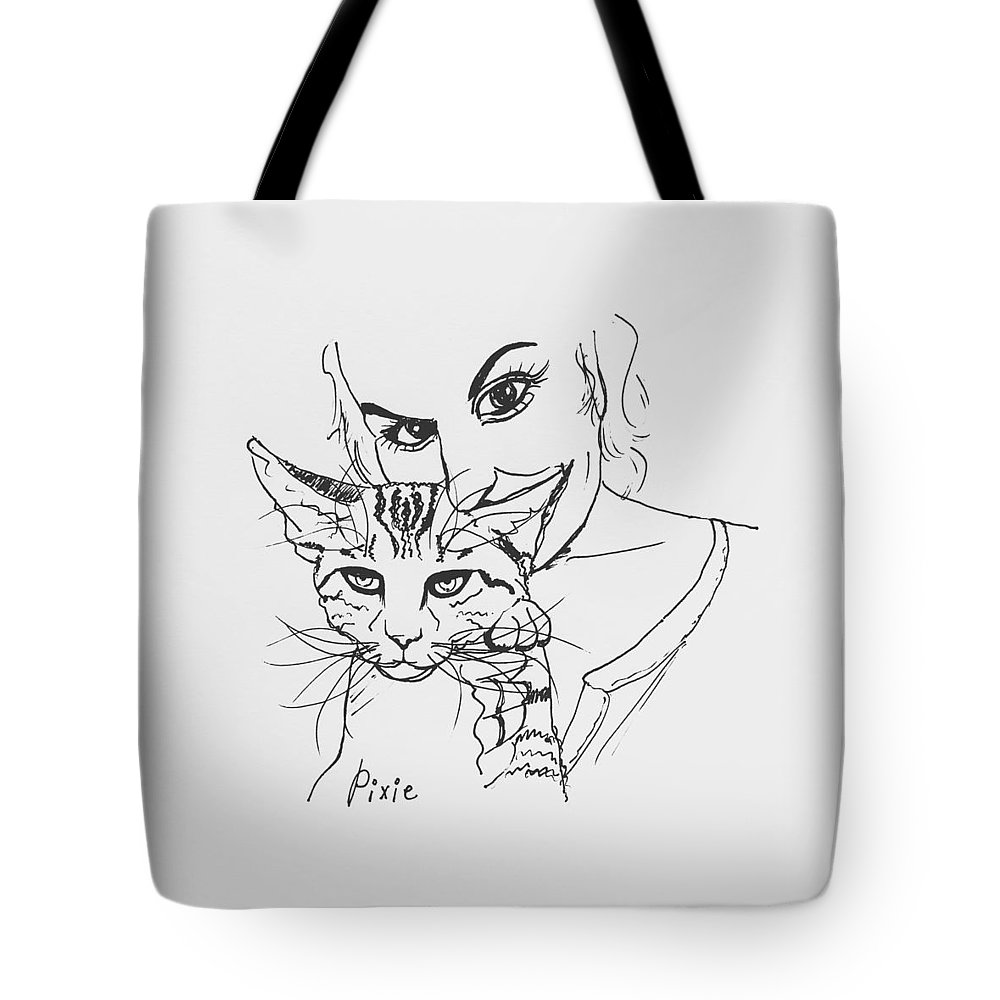 Cat Tote Bag featuring the drawing Pixie by Pookie Pet Portraits
