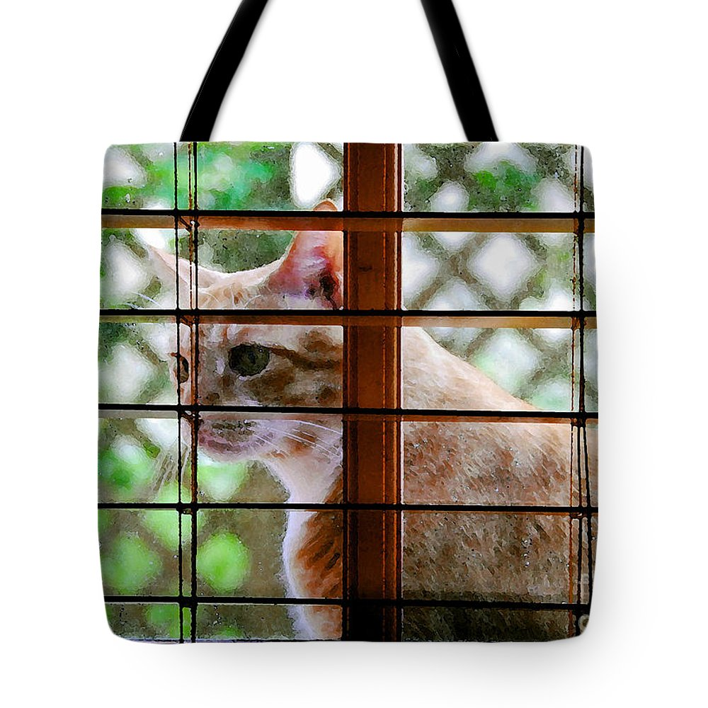Feline Tote Bag featuring the painting Cat At The Window by David Lee Thompson