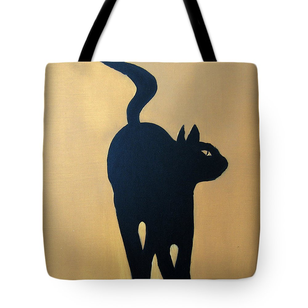 Cat Tote Bag featuring the painting Cat Dance..... Optical Illusion by Patrick Trotter