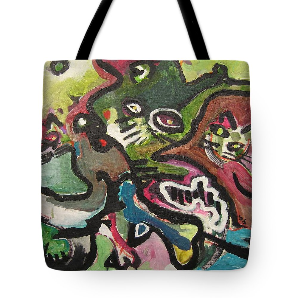 Cat Painting Tote Bag featuring the painting Cat Fight by Seon-Jeong Kim