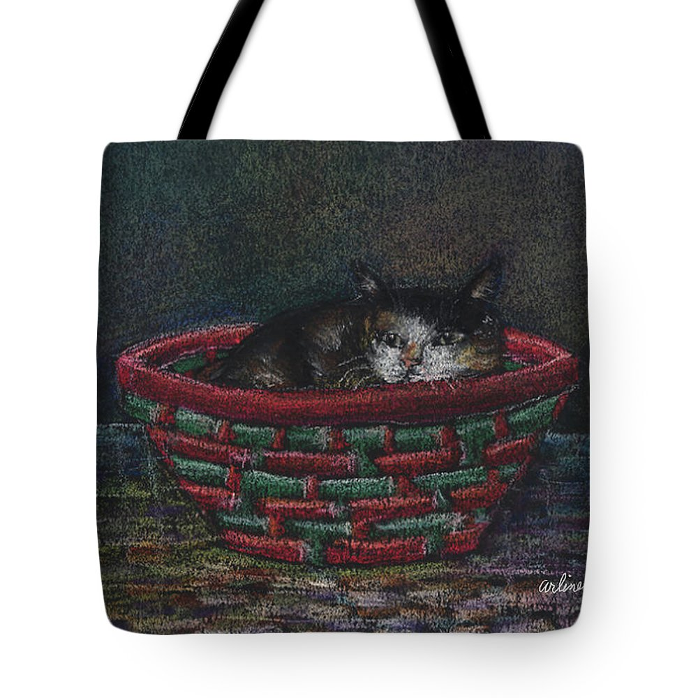 Cat Tote Bag featuring the pastel Cat In A Basket by Arline Wagner