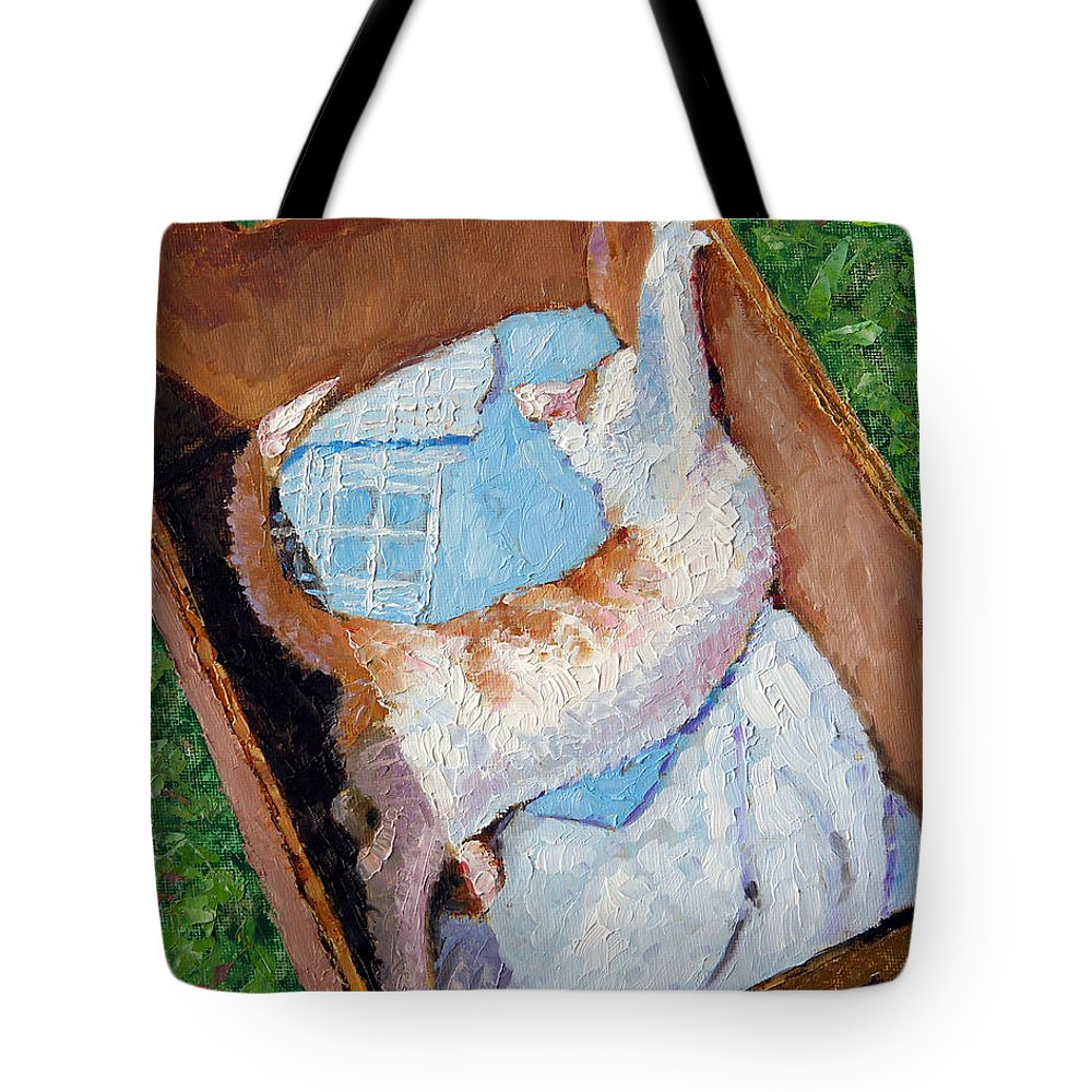 Kitten Tote Bag featuring the painting Cat In A Box by John Lautermilch