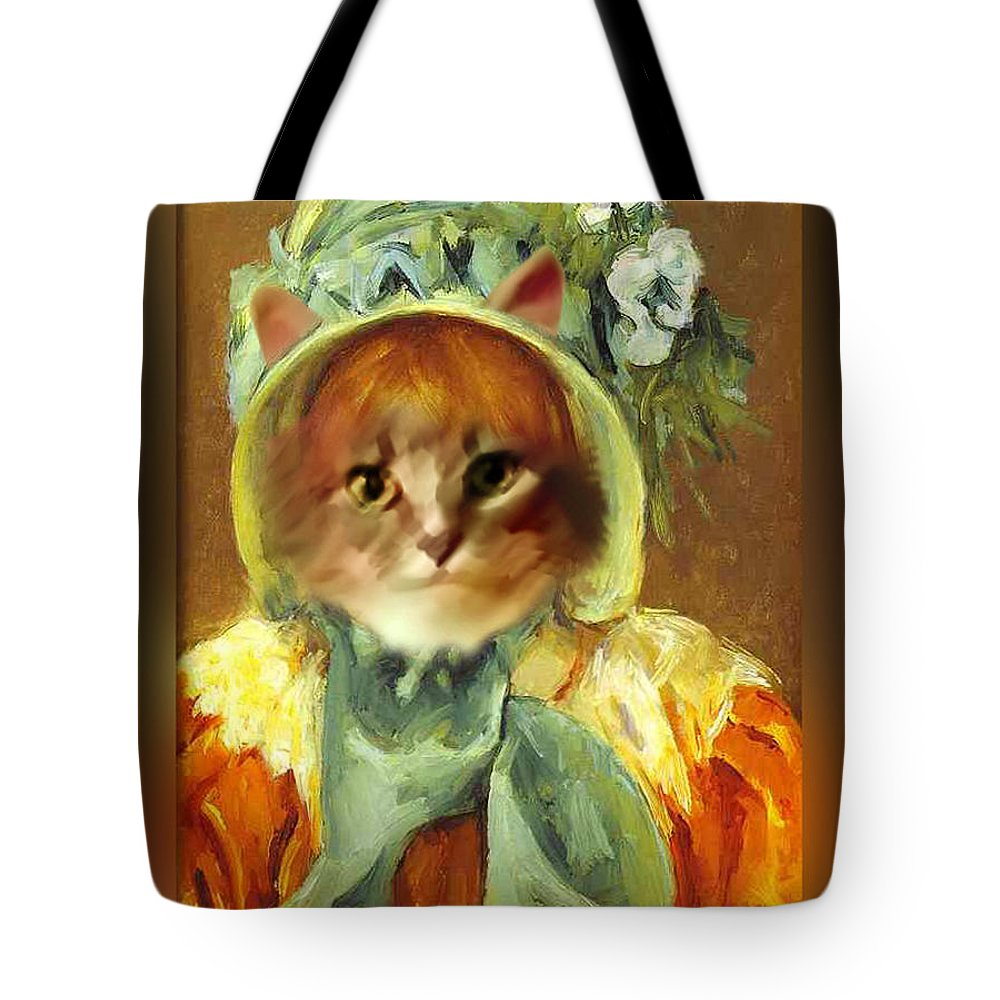 Cassatt Tote Bag featuring the painting Cat In Bonnet by Gravityx9 Designs