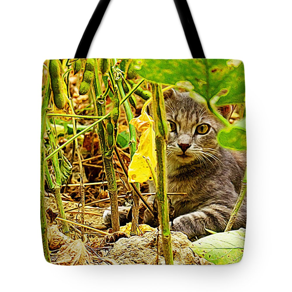 Wild Cat Tote Bag featuring the painting Cat In Field by Queso Espinosa
