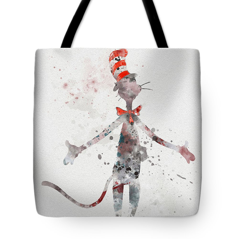 Cat In The Hat Tote Bag featuring the mixed media Cat In The Hat by My Inspiration