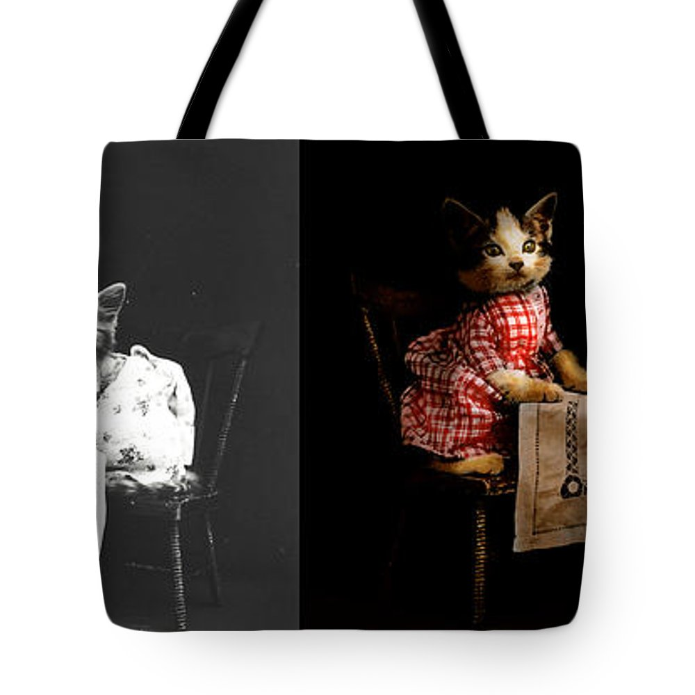 Cat Tote Bag featuring the photograph Cat - It's Our Birthday - 1914 - Side By Side by Mike Savad