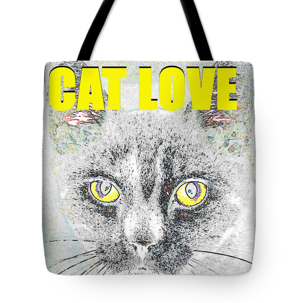 Cat Love Tote Bag featuring the painting Cat Love Yellow Work by David Lee Thompson