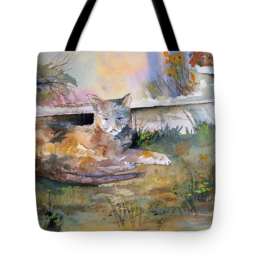 Landscape Tote Bag featuring the painting Cat Nap by Ryan Radke