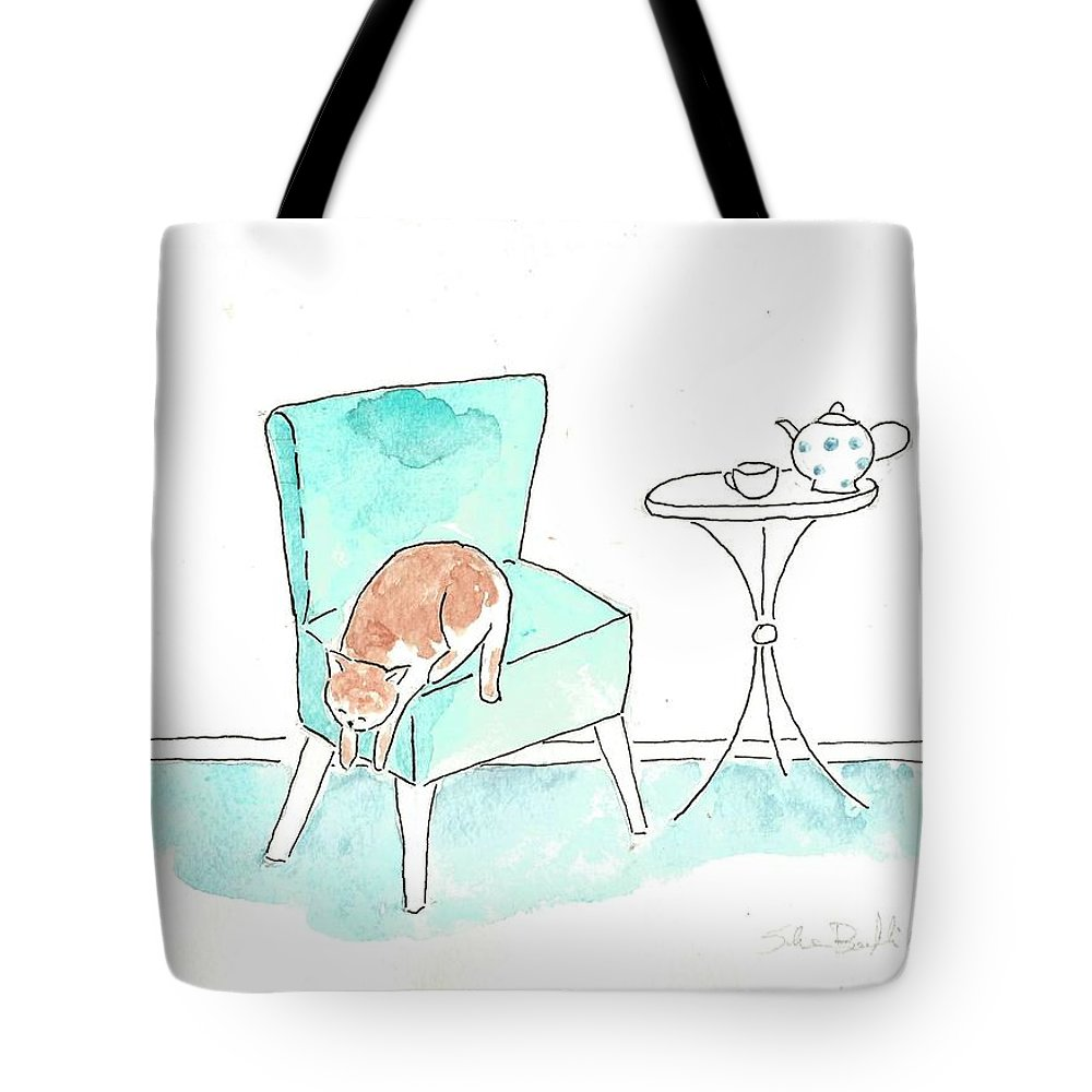 Cat Illustration Tote Bag featuring the painting Cat On The Blue Chair by Silvia Beneforti