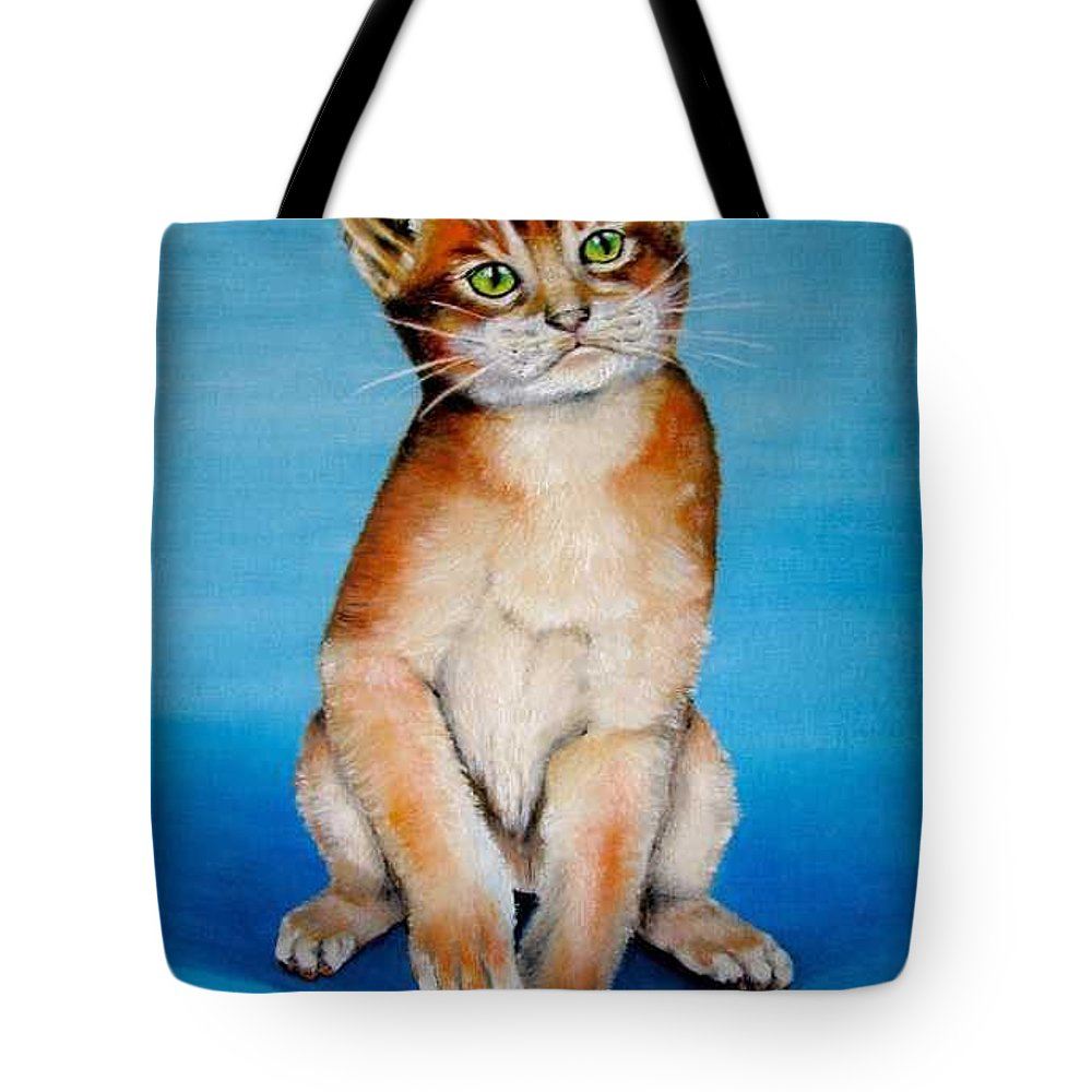 Cat Tote Bag featuring the painting Cat Original Oil Painting by Natalja Picugina