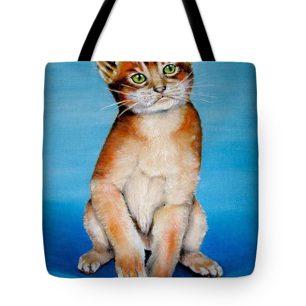 Cat Tote Bag featuring the painting Cat Original Oil Painting by Natalja Picugina