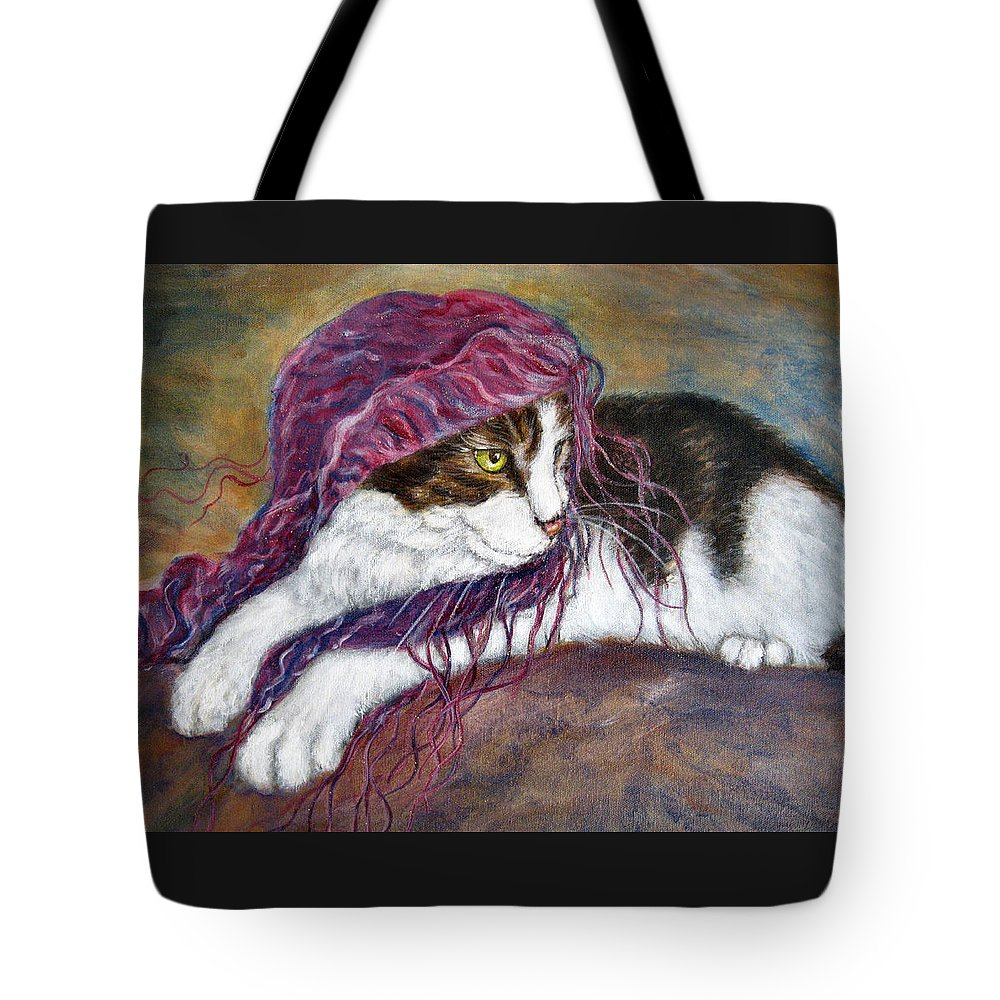 Tortoise Cat Tote Bag featuring the painting Cat Painting Charlie The Pirate by Frances Gillotti