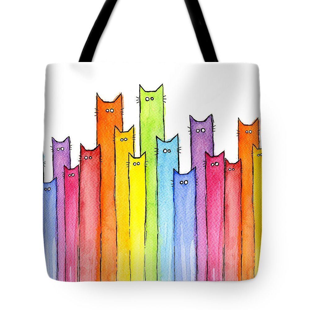 Cats Tote Bag featuring the painting Cat Rainbow Watercolor Pattern by Olga Shvartsur