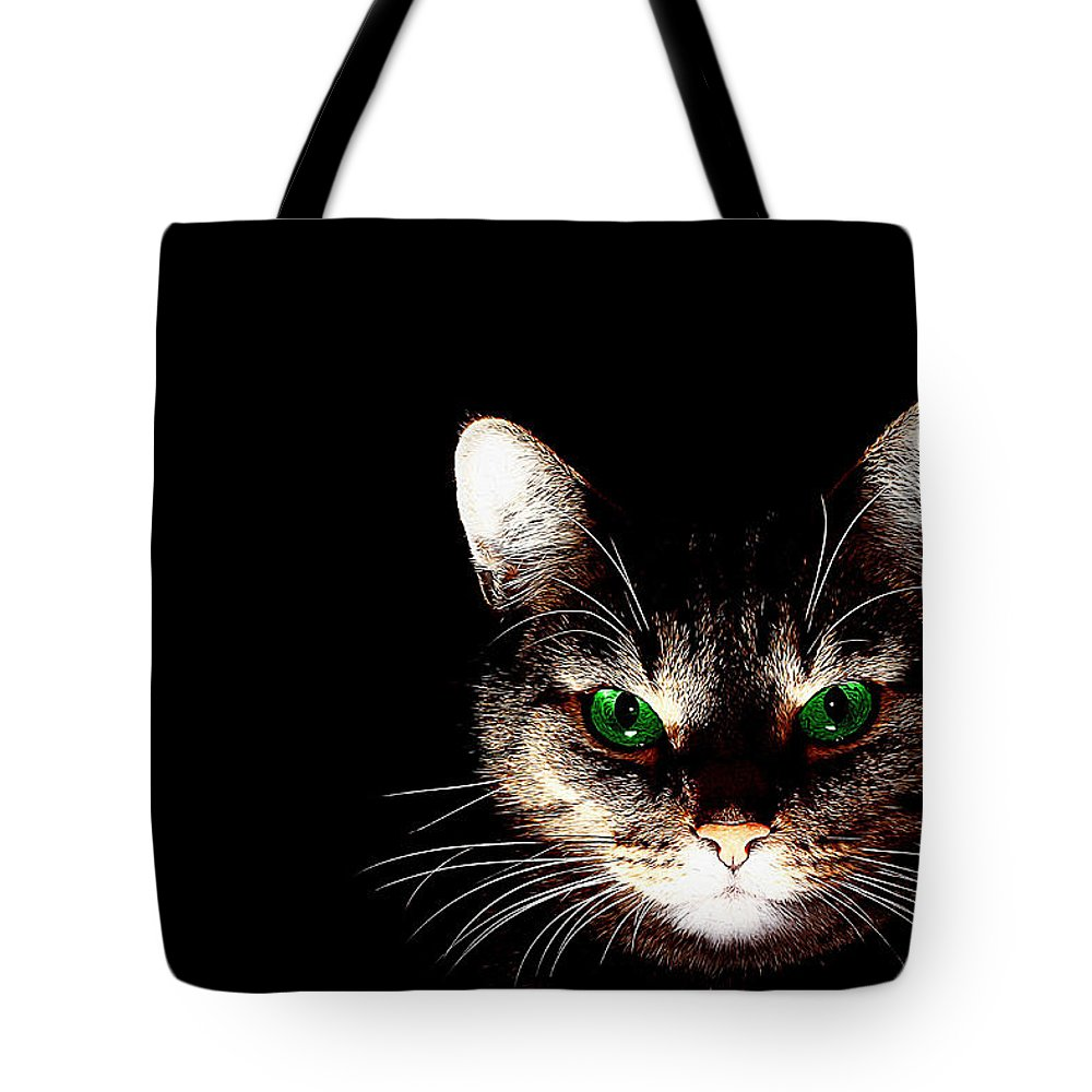Cat Art Tote Bag featuring the painting Cat Shadow by Queso Espinosa