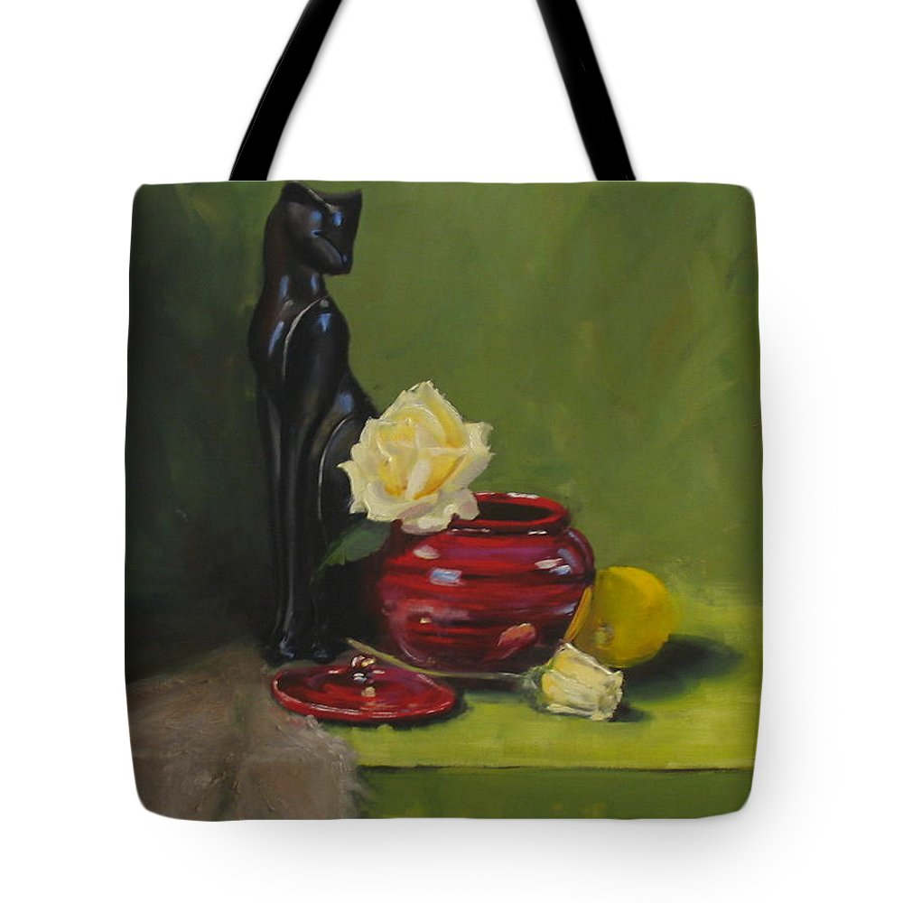 Oil Tote Bag featuring the painting Cat With Rose by Laura Lee Zanghetti