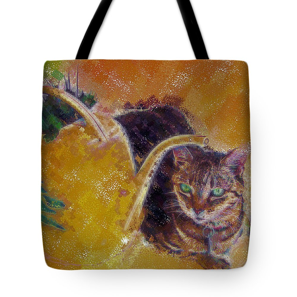 Cat Tote Bag featuring the digital art Cat With Watering Can by Nora Martinez