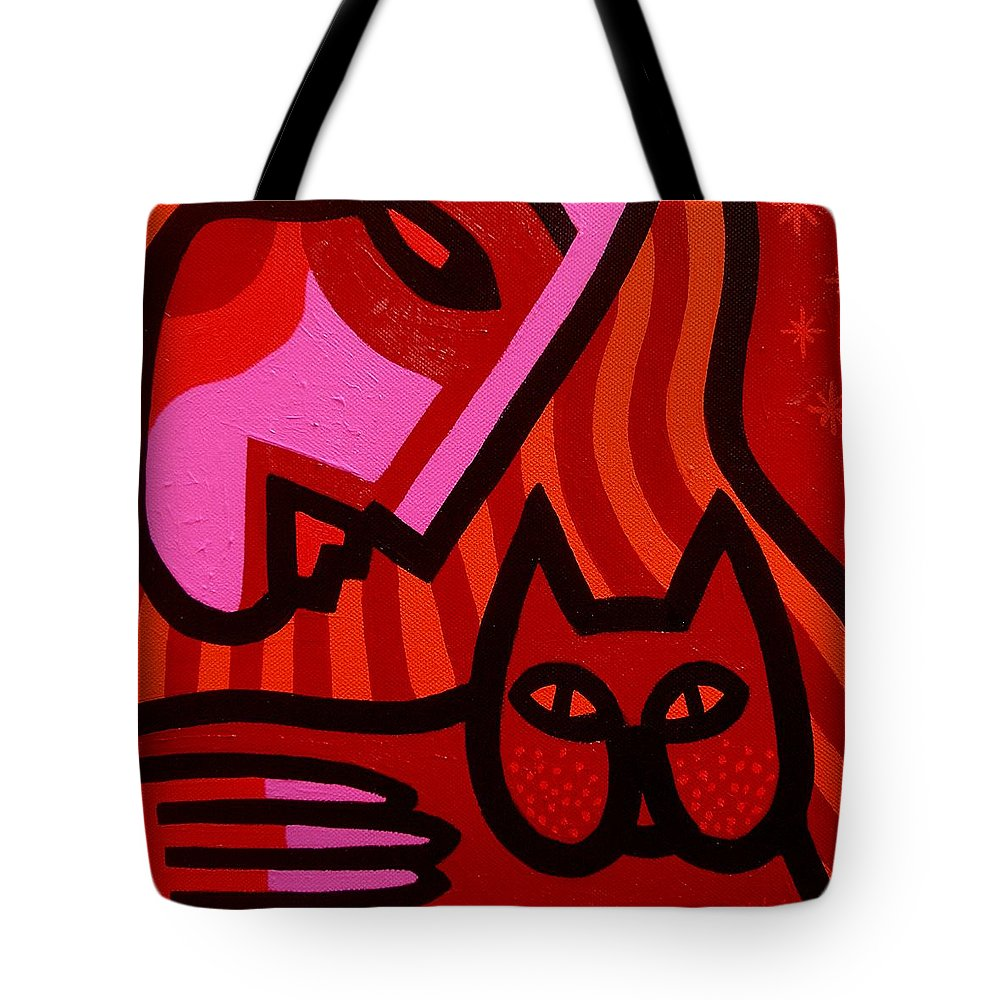 Acrylic Tote Bag featuring the painting Cat Woman by John Nolan