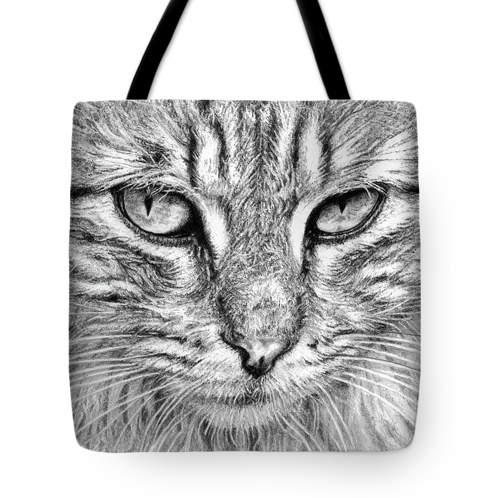 Cat Tote Bag featuring the drawing Cat by Yana Wolanski