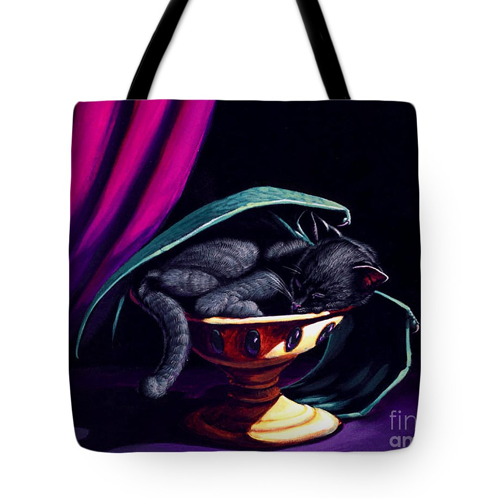 Cat Tote Bag featuring the painting Catabat Nap by Stanley Morrison